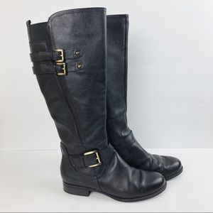 Naturalizer Pebbled Leather Black Tall Boots